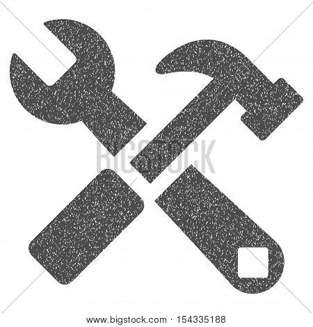 Hammer and Wrench grainy textured icon for overlay watermark stamps. Flat symbol with scratched texture. Dotted vector gray ink rubber seal stamp with grunge design on a white background.
