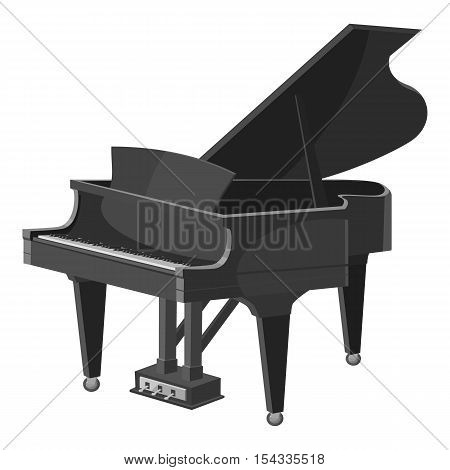 Piano icon. Gray monochrome illustration of piano vector icon for web