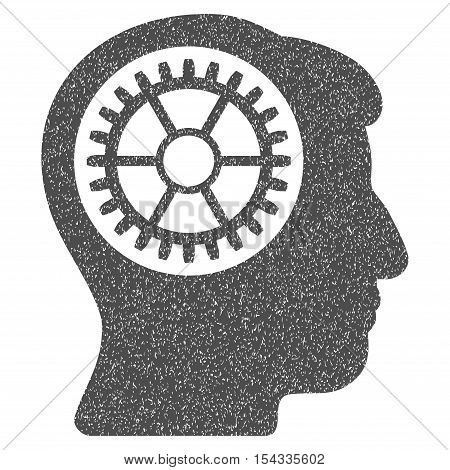 Head Cogwheel grainy textured icon for overlay watermark stamps. Flat symbol with dust texture. Dotted vector gray ink rubber seal stamp with grunge design on a white background.