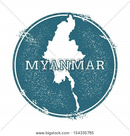 Grunge Rubber Stamp With Name And Map Of Myanmar, Vector Illustration. Can Be Used As Insignia, Logo