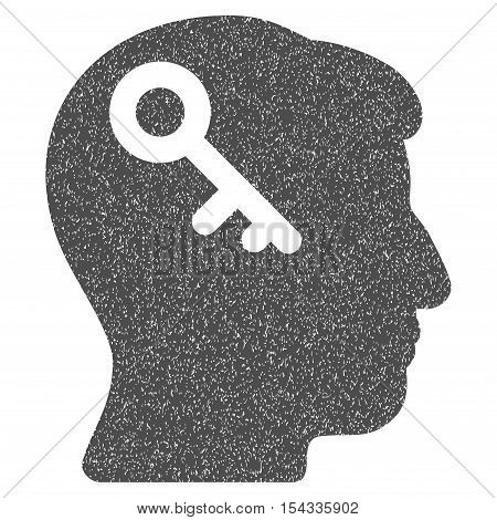 Head Key grainy textured icon for overlay watermark stamps. Flat symbol with dirty texture. Dotted vector gray ink rubber seal stamp with grunge design on a white background.