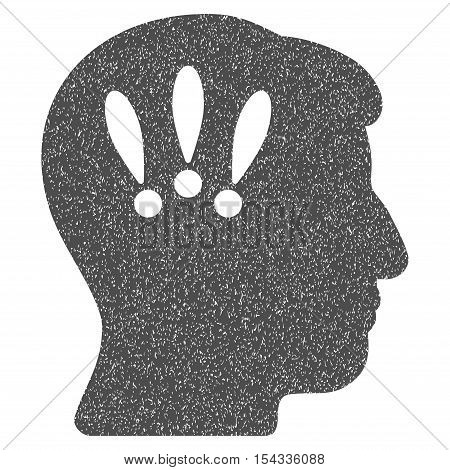 Head Problems grainy textured icon for overlay watermark stamps. Flat symbol with dirty texture. Dotted vector gray ink rubber seal stamp with grunge design on a white background.