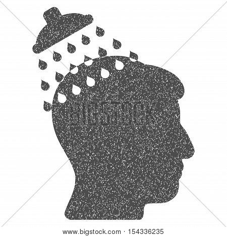 Head Shower grainy textured icon for overlay watermark stamps. Flat symbol with unclean texture. Dotted vector gray ink rubber seal stamp with grunge design on a white background.