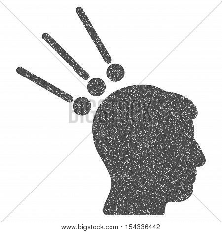 Head Test Connectors grainy textured icon for overlay watermark stamps. Flat symbol with dust texture. Dotted vector gray ink rubber seal stamp with grunge design on a white background.