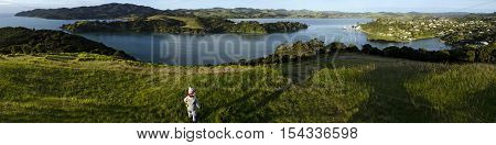 Panoramic Photo from Mangonui Pa looking down to Mangonui harbour in Northland New Zealand.
