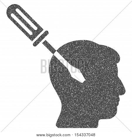 Intellect Screwdriver Tuning grainy textured icon for overlay watermark stamps. Flat symbol with dust texture. Dotted vector gray ink rubber seal stamp with grunge design on a white background.
