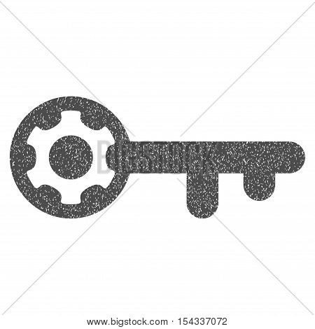 Key Options grainy textured icon for overlay watermark stamps. Flat symbol with unclean texture. Dotted vector gray ink rubber seal stamp with grunge design on a white background.
