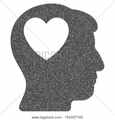 Love Heart Think grainy textured icon for overlay watermark stamps. Flat symbol with dust texture. Dotted vector gray ink rubber seal stamp with grunge design on a white background.