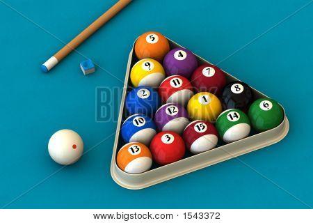 Billiard Set On Blue