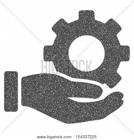 Mechanic Gear Service Hand grainy textured icon for overlay watermark stamps. Flat symbol with unclean texture. Dotted vector gray ink rubber seal stamp with grunge design on a white background.
