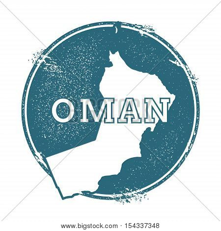 Grunge Rubber Stamp With Name And Map Of Oman, Vector Illustration. Can Be Used As Insignia, Logotyp