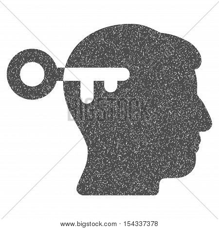 Mind Key grainy textured icon for overlay watermark stamps. Flat symbol with unclean texture. Dotted vector gray ink rubber seal stamp with grunge design on a white background.