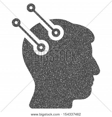 Neural Interface Connectors grainy textured icon for overlay watermark stamps. Flat symbol with unclean texture. Dotted vector gray ink rubber seal stamp with grunge design on a white background.