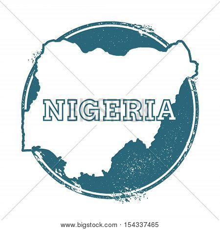 Grunge Rubber Stamp With Name And Map Of Nigeria, Vector Illustration. Can Be Used As Insignia, Logo