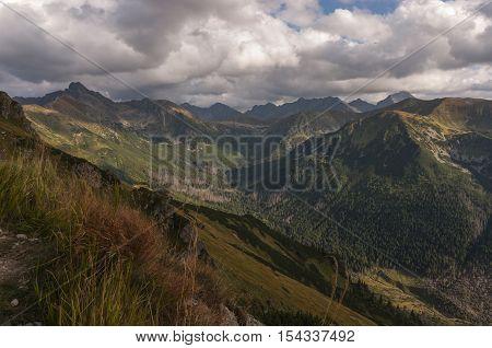 Panorama mountain autumn landscape. The Tatra Mountains. Poland