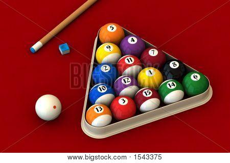 Billiard Set On Red