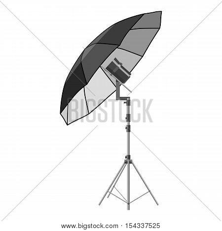 Umbrella for photography icon. Gray monochrome illustration of umbrella for photography vector icon for web