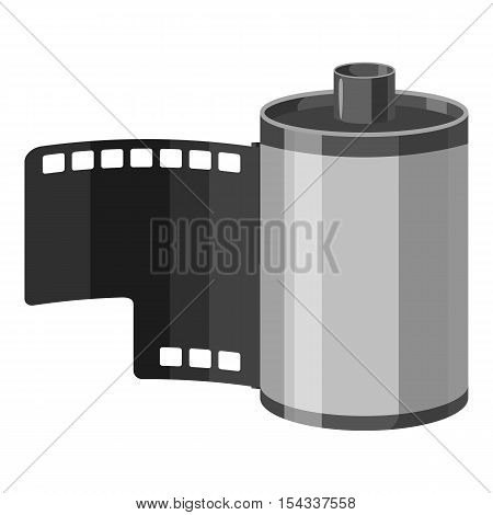Photographic film icon. Gray monochrome illustration of photographic film vector icon for web