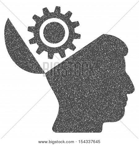 Open Head Gear grainy textured icon for overlay watermark stamps. Flat symbol with unclean texture. Dotted vector gray ink rubber seal stamp with grunge design on a white background.