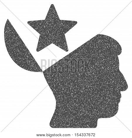Open Head Star grainy textured icon for overlay watermark stamps. Flat symbol with dirty texture. Dotted vector gray ink rubber seal stamp with grunge design on a white background.