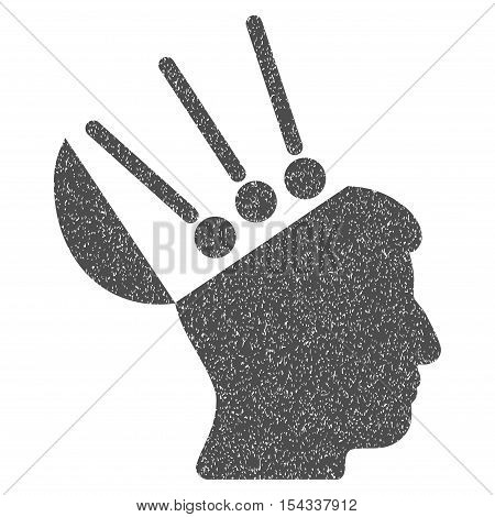 Open Mind Interface grainy textured icon for overlay watermark stamps. Flat symbol with dirty texture. Dotted vector gray ink rubber seal stamp with grunge design on a white background.