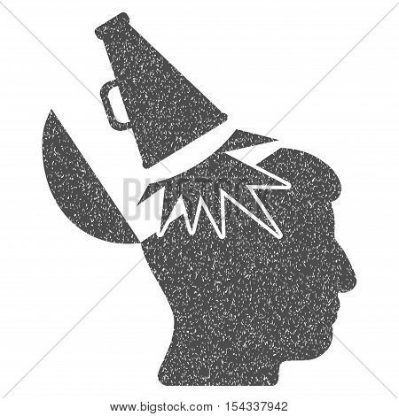 Open Mind Megaphone grainy textured icon for overlay watermark stamps. Flat symbol with unclean texture. Dotted vector gray ink rubber seal stamp with grunge design on a white background.
