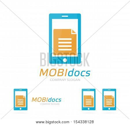 Vector file and phone logo combination. Document and mobile symbol or icon. Unique page and note logotype design template.