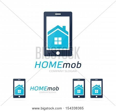 Vector house and phone logo combination. Real estate and mobile symbol or icon. Unique apartment and rent agency logotype design template.