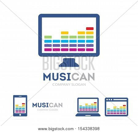 Vector music and phone logo combination. Equalizer and mobile symbol or icon. Unique radio and sound logotype design template.