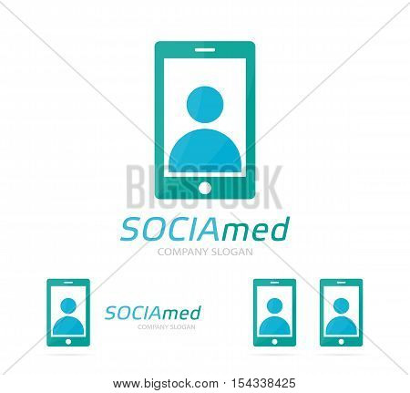 Vector man and phone logo combination. Human and mobile symbol or icon. Unique smartphone and social logotype design template.