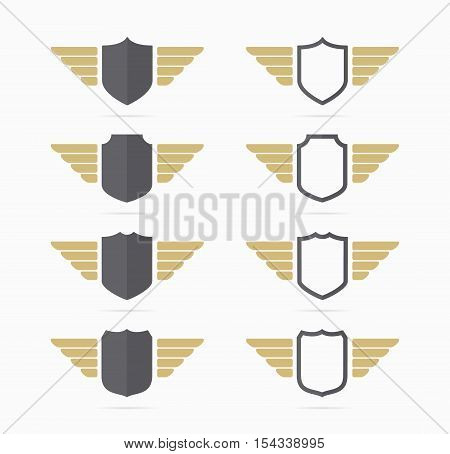 Vector heraldic shield and wings symbol combination. Unique security and protection icon design template.