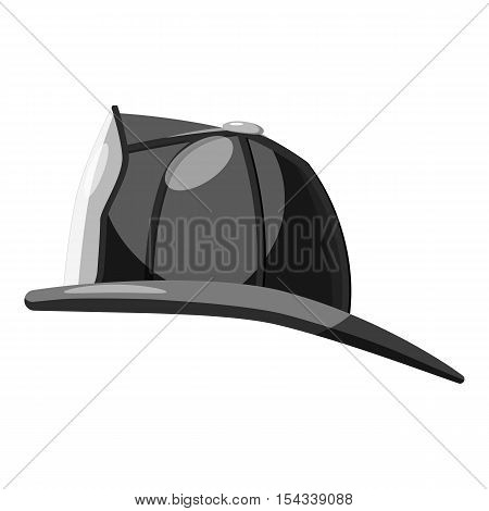 Firefighter helmet icon. Gray monochrome illustration of firefighter helmet vector icon for web