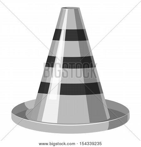 Traffic cone icon. Gray monochrome illustration of traffic cone vector icon for web