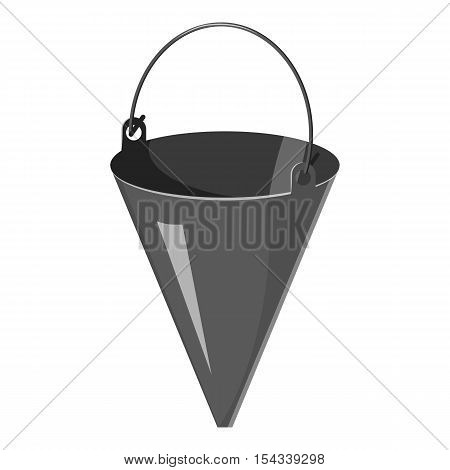 Fire bucket icon. Gray monochrome illustration of fire bucket vector icon for web