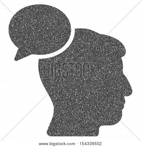 Person Idea grainy textured icon for overlay watermark stamps. Flat symbol with dust texture. Dotted vector gray ink rubber seal stamp with grunge design on a white background.