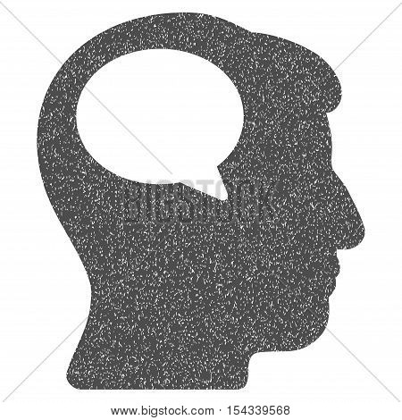 Person Thinking grainy textured icon for overlay watermark stamps. Flat symbol with dirty texture. Dotted vector gray ink rubber seal stamp with grunge design on a white background.