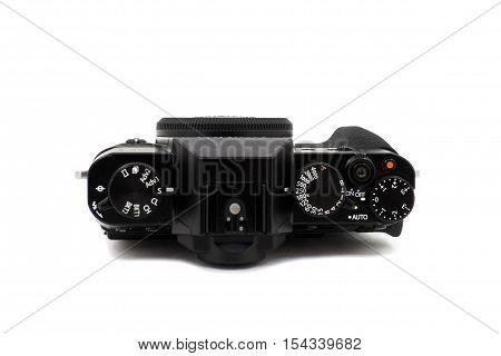 Retro camera in black on a white background