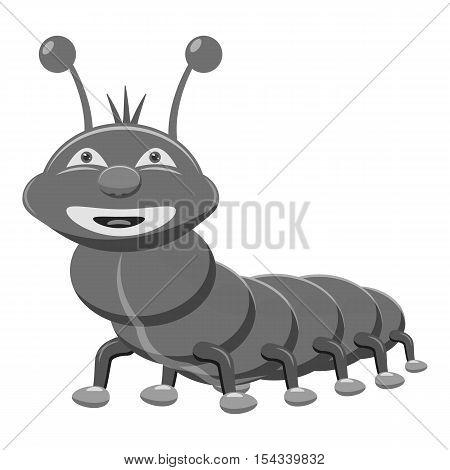 Caterpillar icon. Gray monochrome illustration of caterpillar vector icon for web
