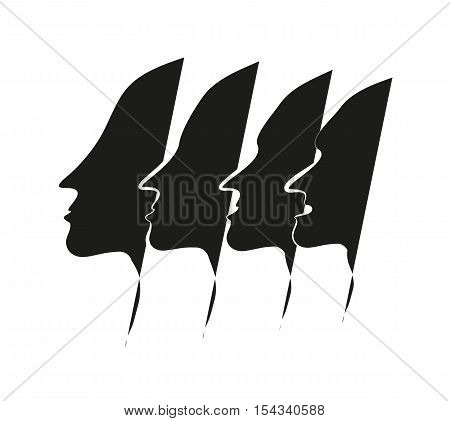 four men face silhouette. Izolated vector illustration.