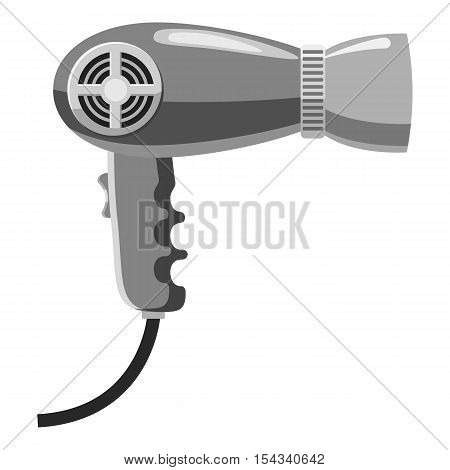 Hairdryer icon. Gray monochrome illustration of hairdryer vector icon for web