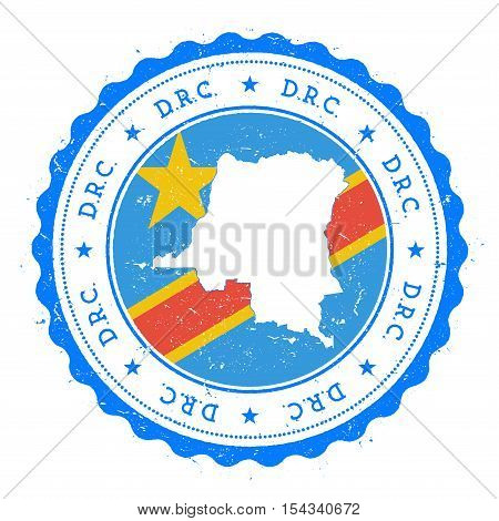 Congo, The Democratic Republic Of The Map And Flag In Vintage Rubber Stamp Of State Colours.. Grungy