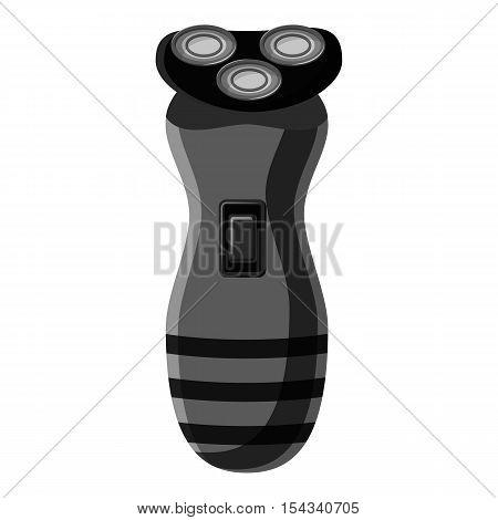 Electric shaver icon. Gray monochrome illustration of electric shaver vector icon for web