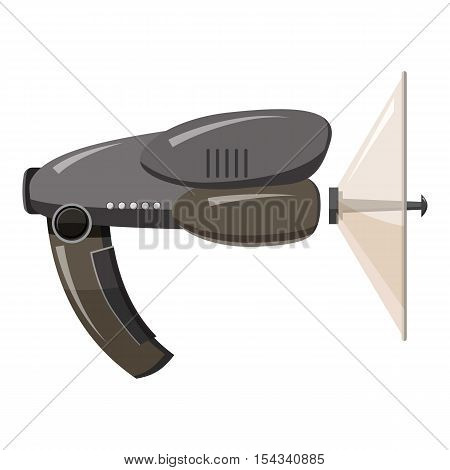 Spy listening device icon. Gray monochrome illustration of spy listening device vector icon for web