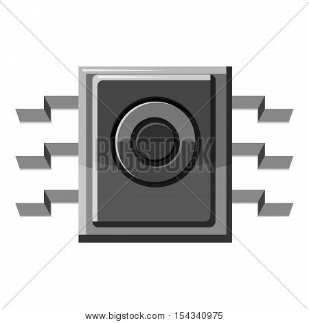 Spy microchip icon. Gray monochrome illustration of spy microchip vector icon for web