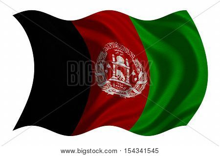 Afghan national official flag. Patriotic symbol banner element background. Correct colors. Flag of Afghanistan with real detailed fabric texture wavy isolated on white 3D illustration