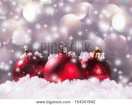 Christmas decoration. Christmas sphere on snow