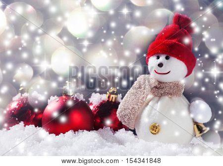 Snowman on snow. Studio shot