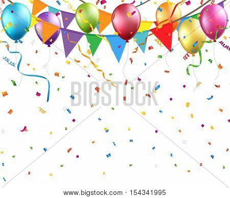Festive background with colorful balloons and flags Vector