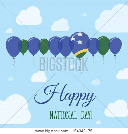 Solomon Islands National Day Flat Patriotic Poster. Row Of Balloons In Colors Of The Solomon Islande