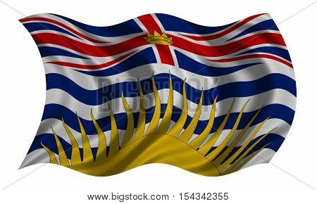 Canadian provincial BC patriotic element and official symbol. Canada banner and background. Flag of the Canadian province of British Columbia wavy isolated on white fabric texture 3D illustration